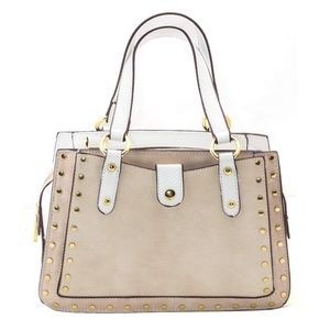 White and Cream Studded Purse with Optional Strap